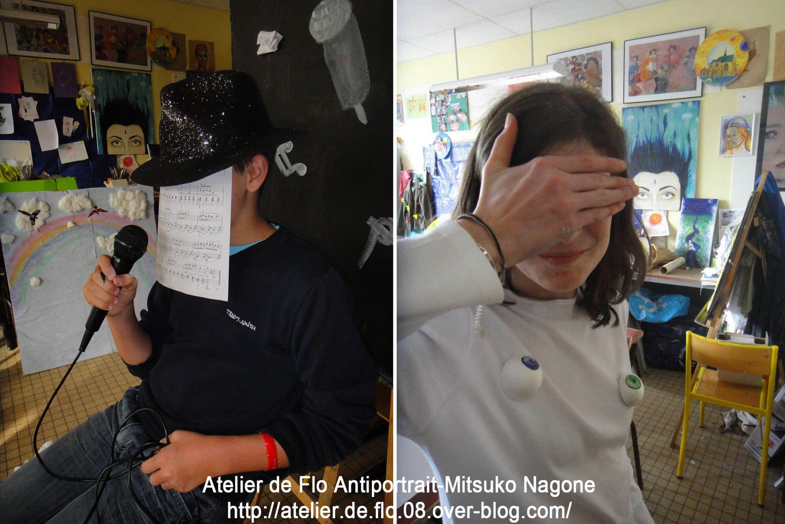 L'Atelier Ados continue à découvrir le PORTRAIT. Après le Portrait Mangas, cette fois-ci,  nous avons découvert l'ANTIPORTRAIT avec l'artiste Japonais Mitsuko Nagone. Voici les photos des 2 ateliers préparatoires à la mise en scène que chaque jeune à créer pour son AUTOPORTRAIT