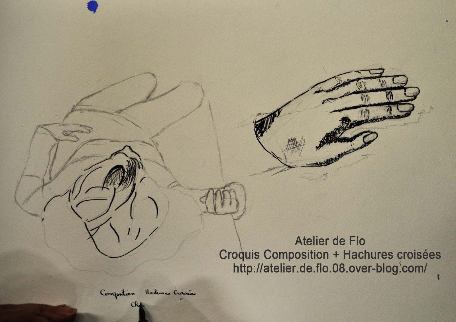 Croquis: Composition-Hachures croisée-Dessin automatique