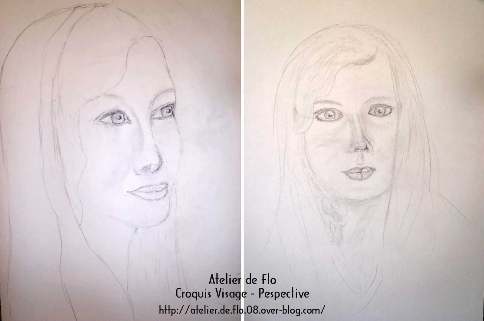 Le 1er atelier visage &  perspective. Nous finaliserons ces croquis en couleur la semaine pochaine