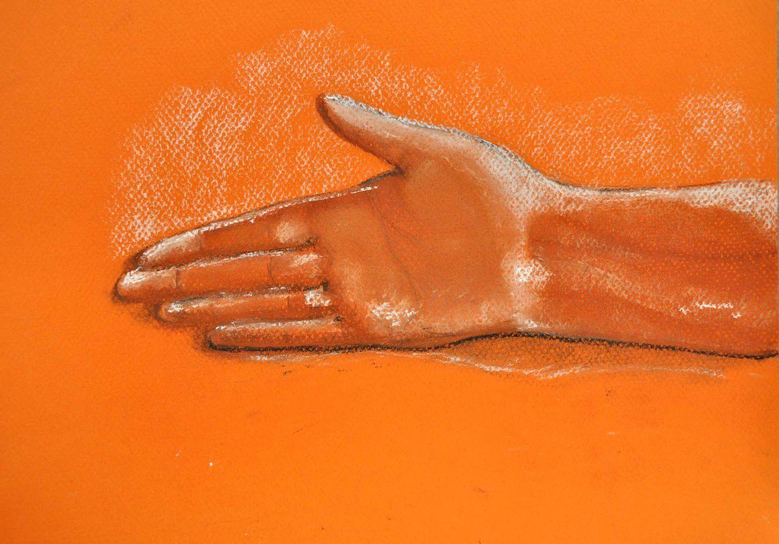 ...et pour finir, les mains dessinées par Bernard et Jeannine après cet atelier !