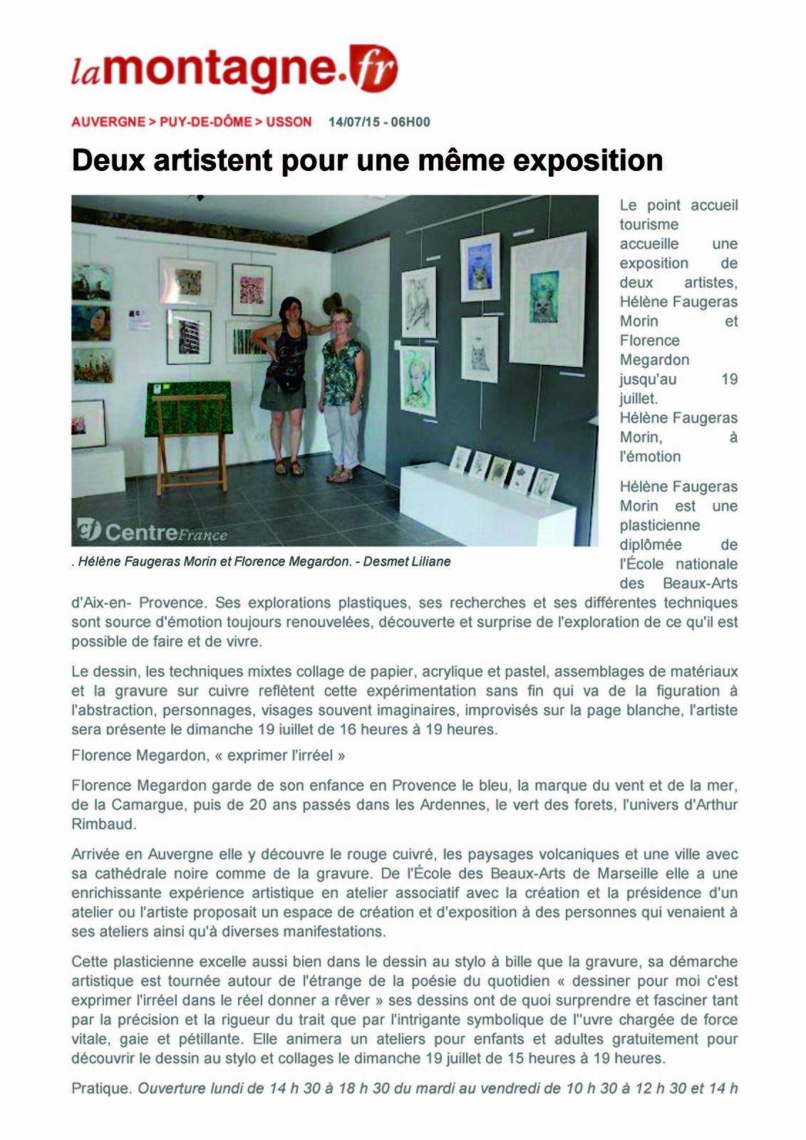 """Article de Presse de """"La Montagne"""" sur l'exposition à Usson de FloM et Hélène Faugeras"""