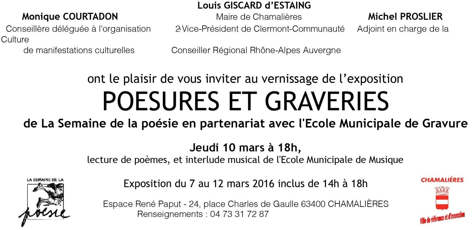 Invitation au vernissage de l'exposition Poésures et Graveries