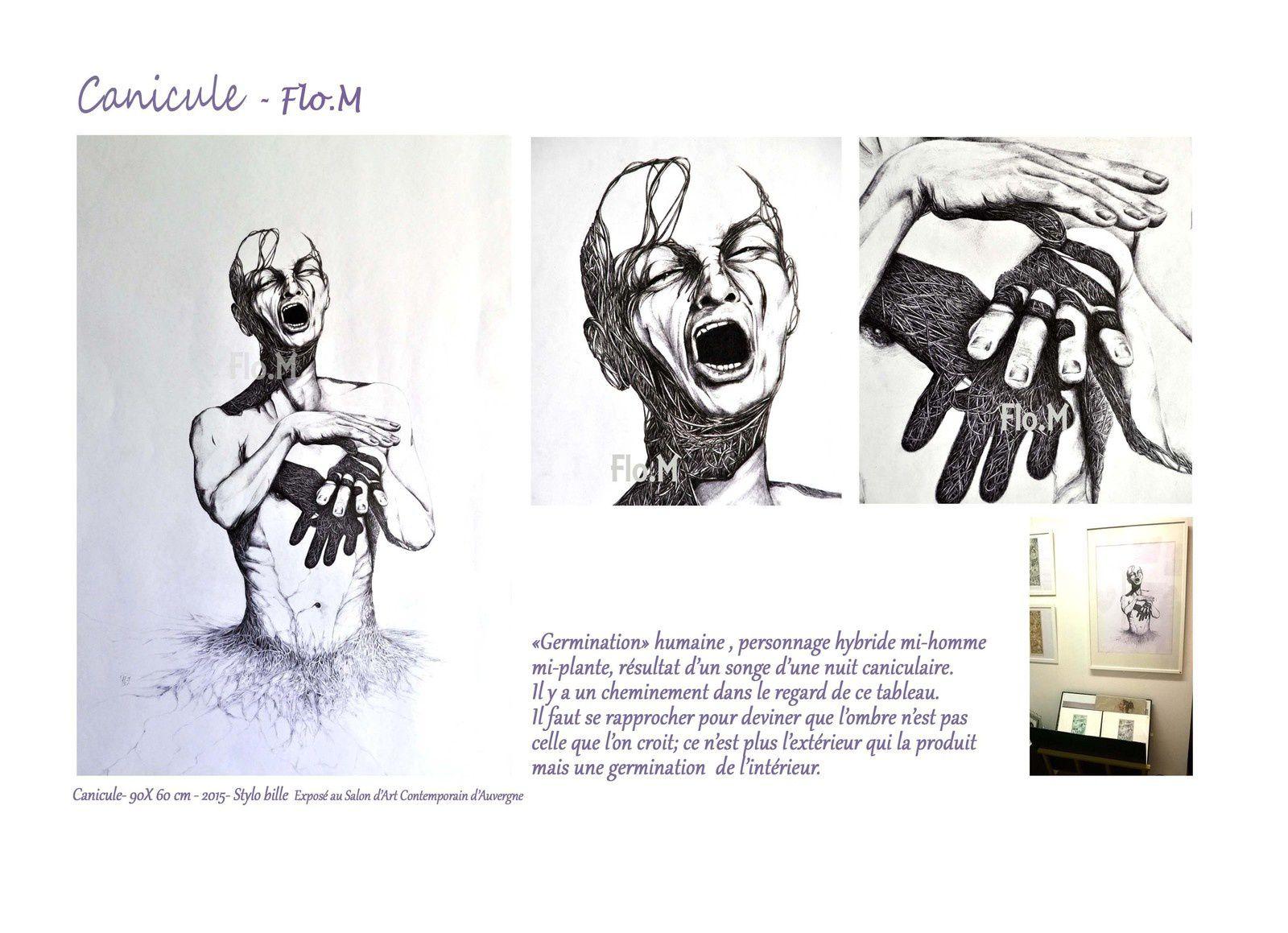 """Tableau """"Canicule"""" - Flo.M, exposé à la Galerie """"Les ateliers Agora"""" à Eyguières (Bouches du Rhône) 11-2016"""