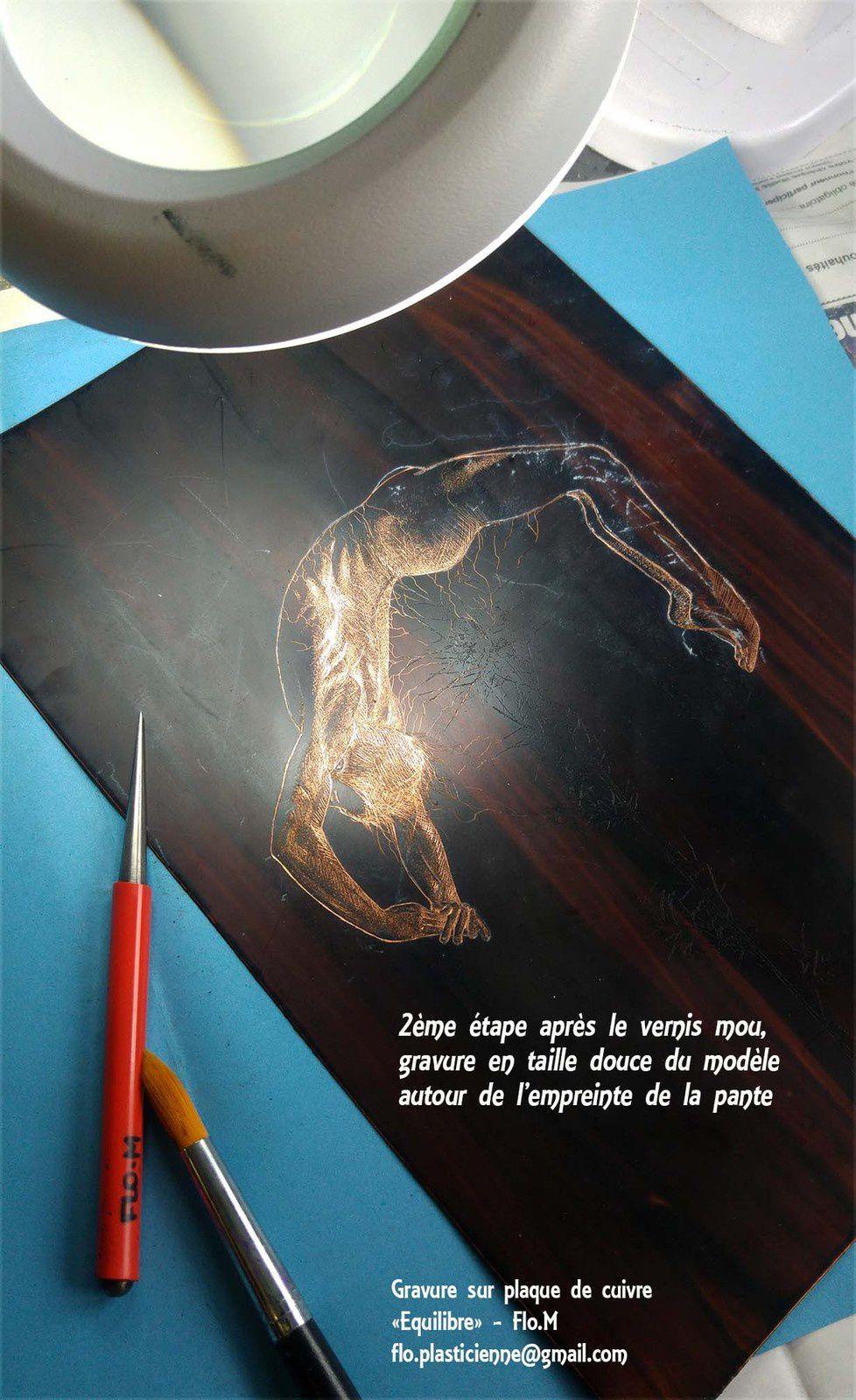 Gravure sur plaque de cuivre recouverte de vernis : Taille douce - Artiste Flo.M - flo.plasticienne@gmail.com