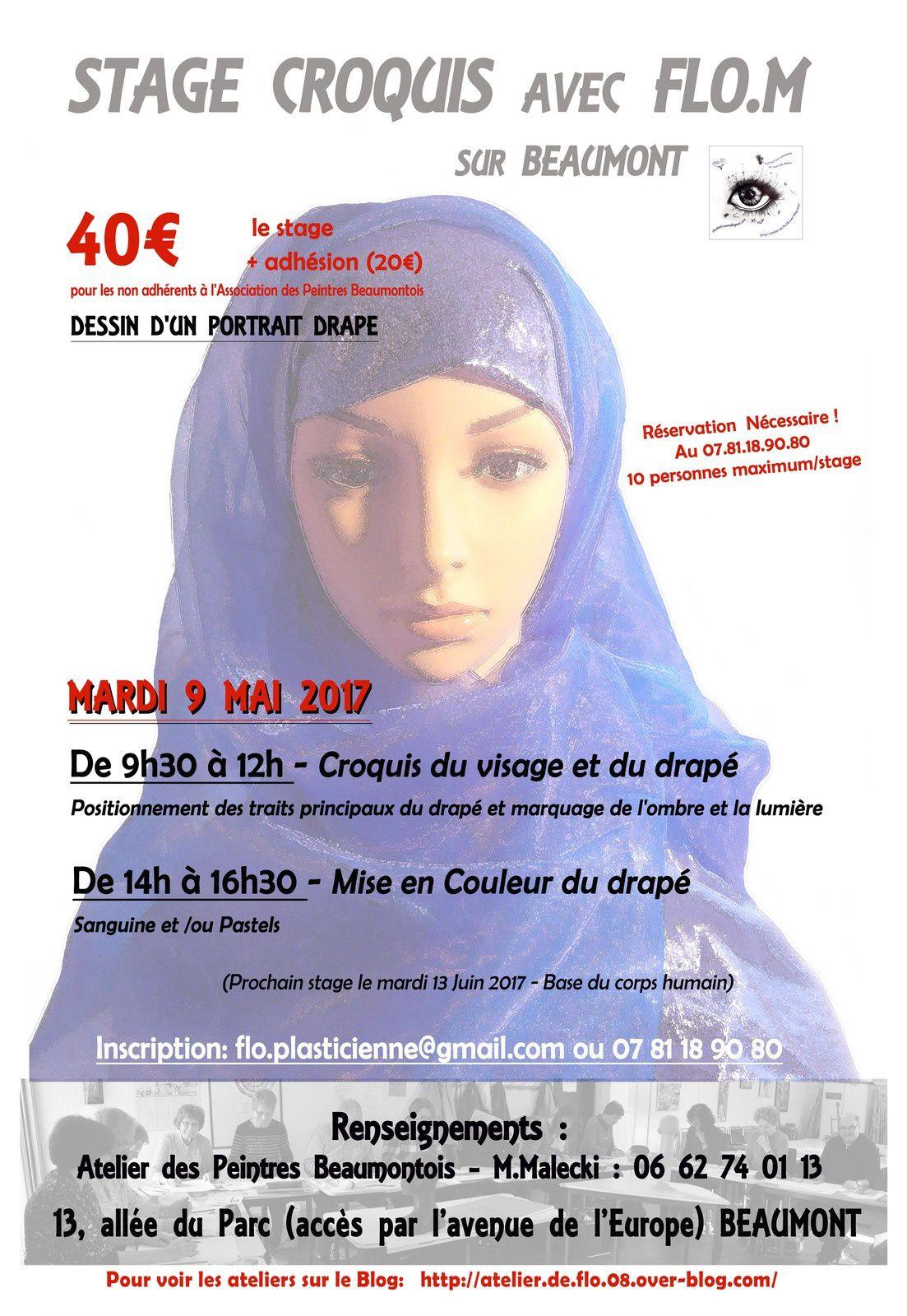 Prochain stage avec Flo.M le MARDI 9 MAI à l'atelier des artistes Beaumontois