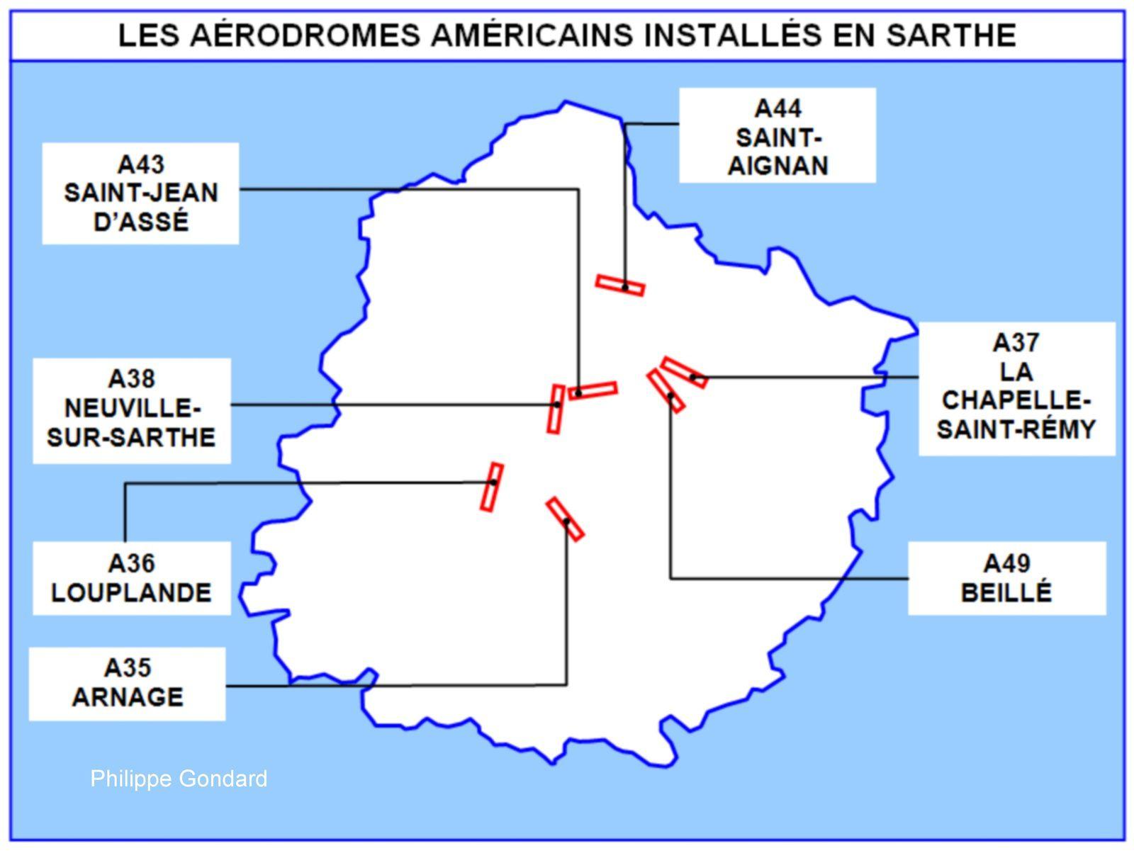 Les aérodromes américains en Sarthe