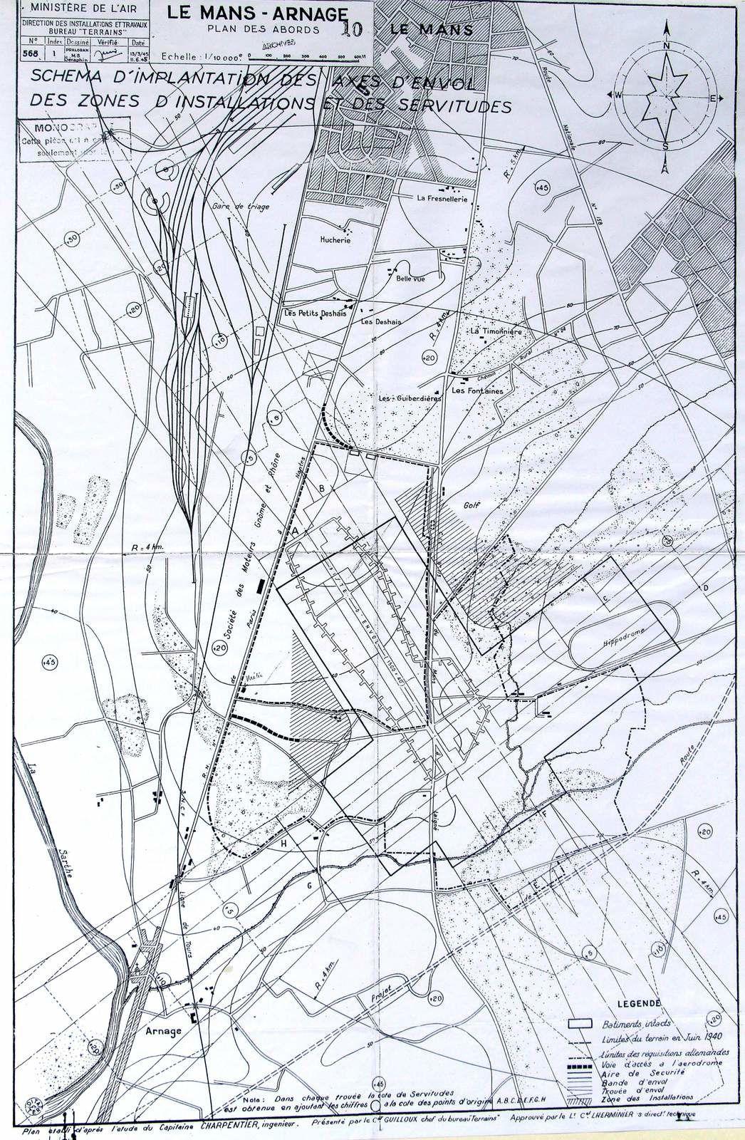 Projet du Ministère de l'Air sur les pistes d'envol (mars et juin 1945).