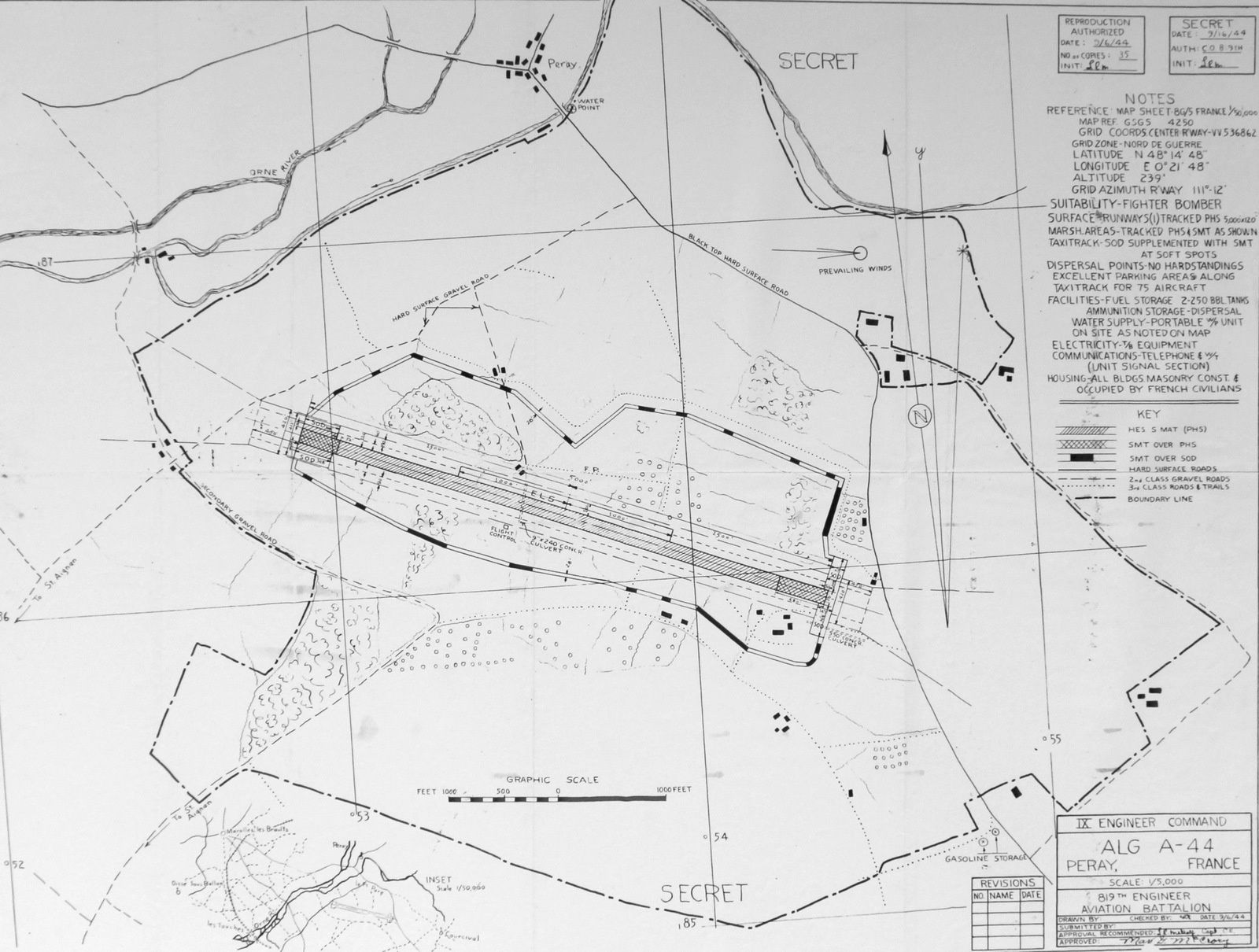 Le plan américain du 819th Engineer Aviation Battalion rélaisé en 1944.