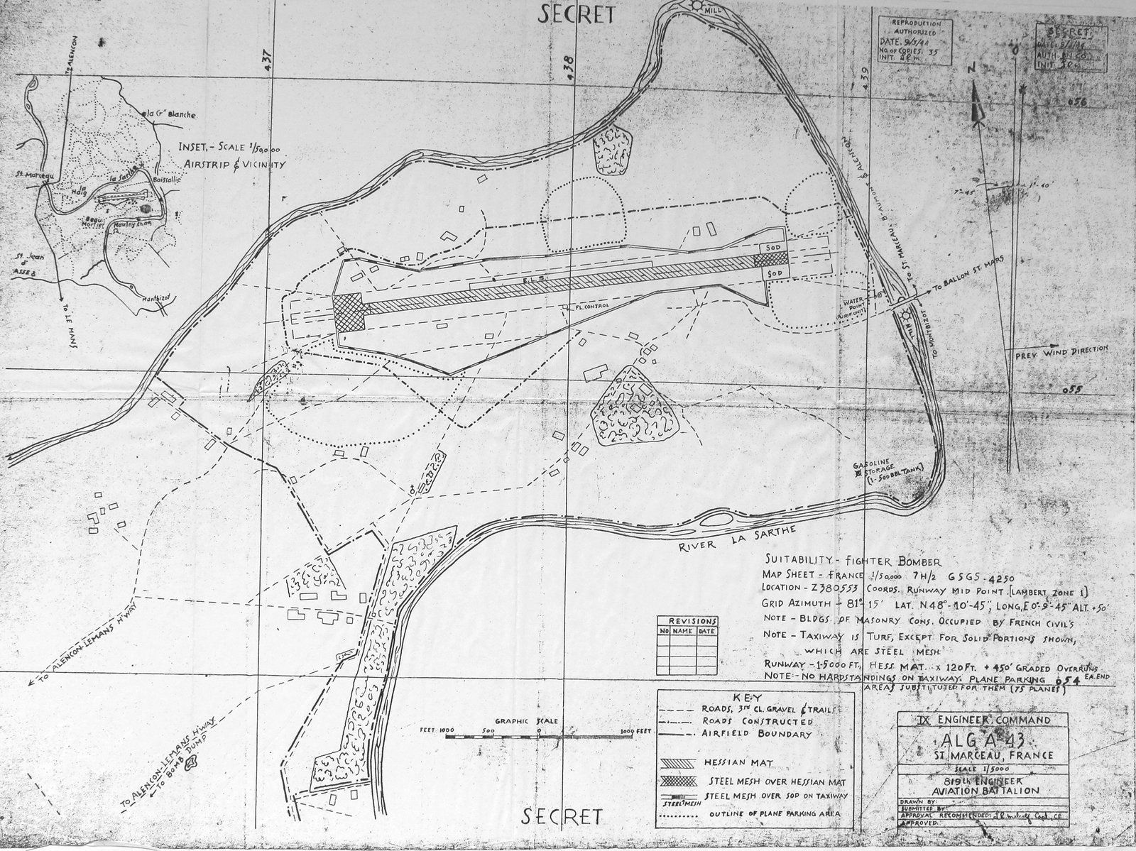 Le plan américain dessiné par le 819th Engineer Aviation Battalion