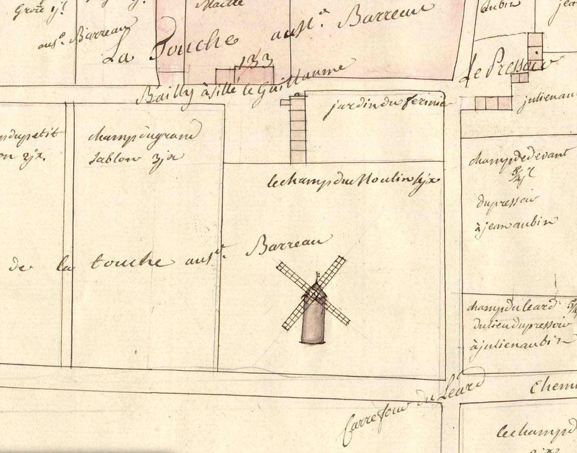 Le moulin à vent de la Touche sur un plan terrier du XVIIIème siècle