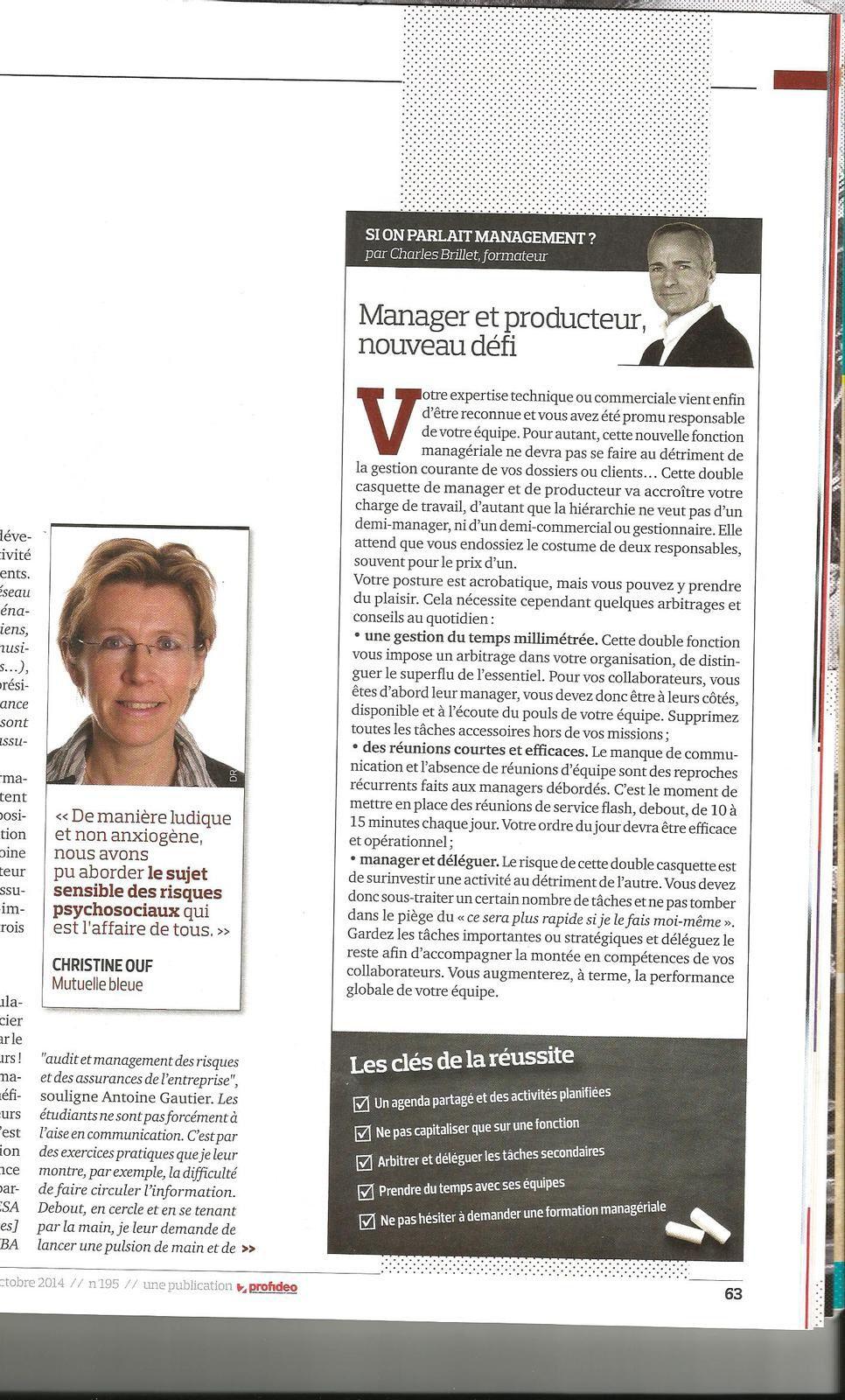 Article management charles brillet : manager et producteur, nouveau défi!