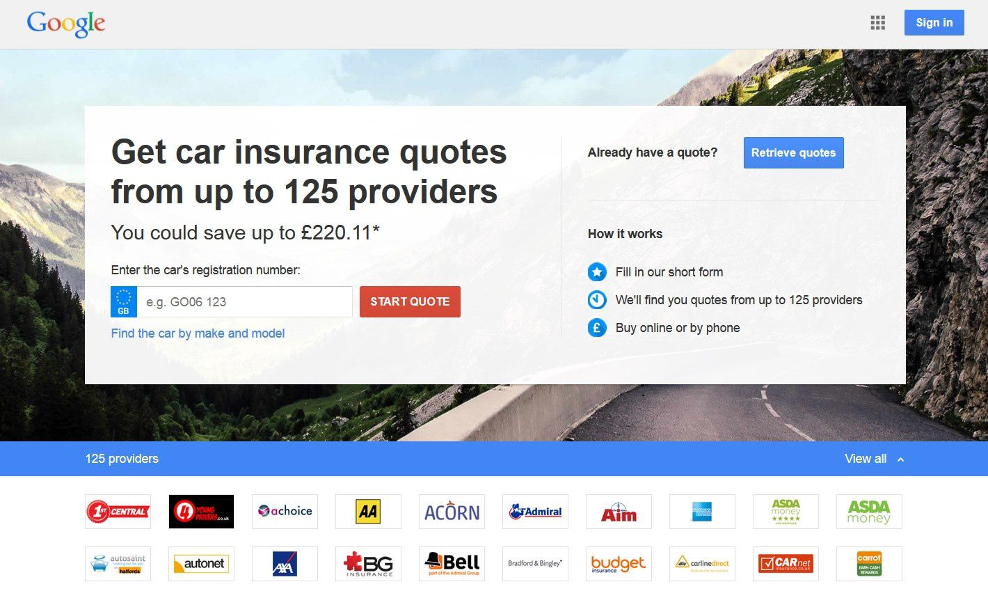 Google compare car insurance