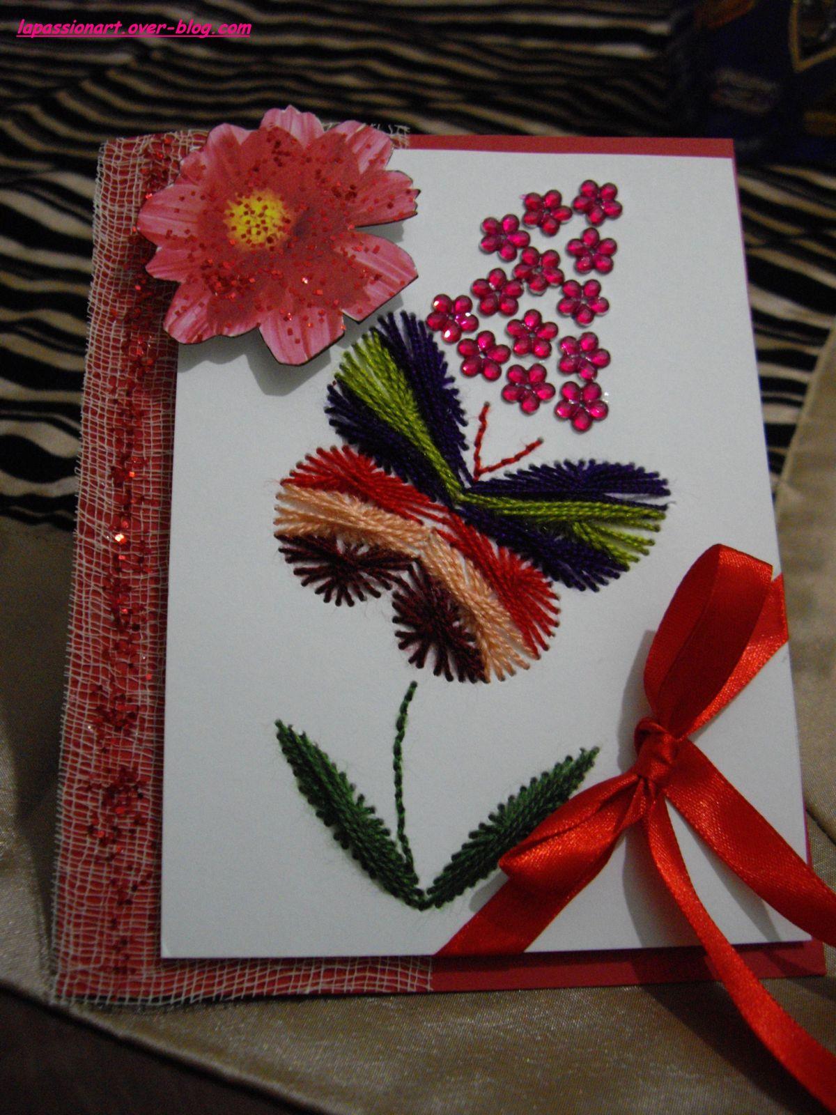 Ma carte brodée pour la  fête des mères: