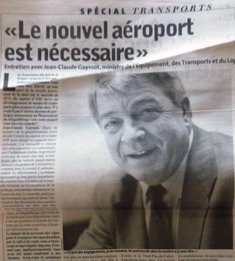 Gayssot en 2002 : Pour l'aéroport « parisien » etc.