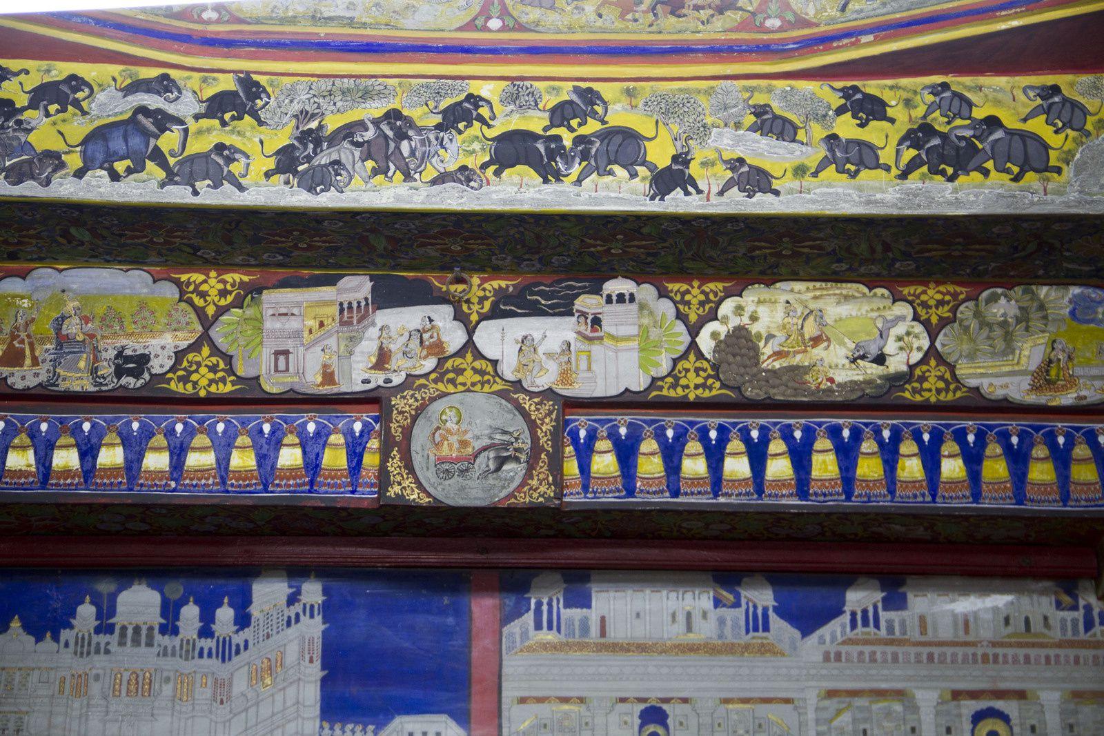 Vues du Badi Mahal, des peintures ... et d'une perruche