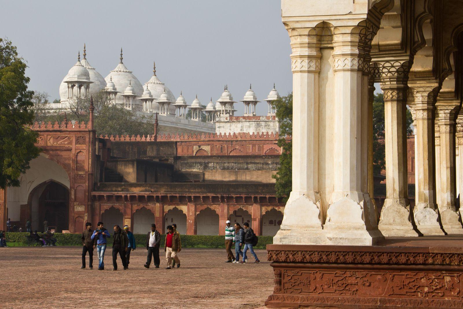 Le Diwan-i-Khas et la mosquée à la perle.