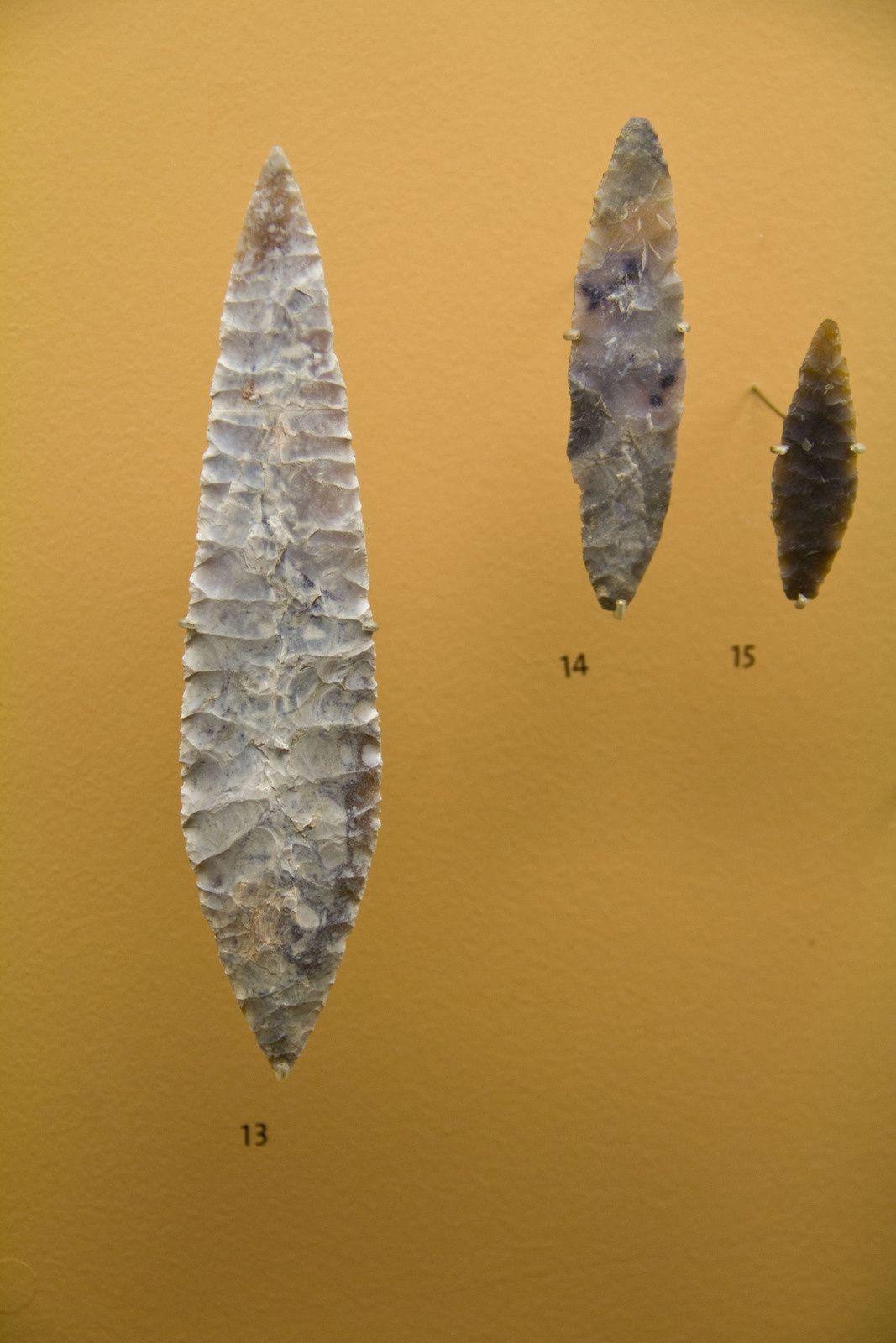 Exemples d'outils en os, en silex, ...