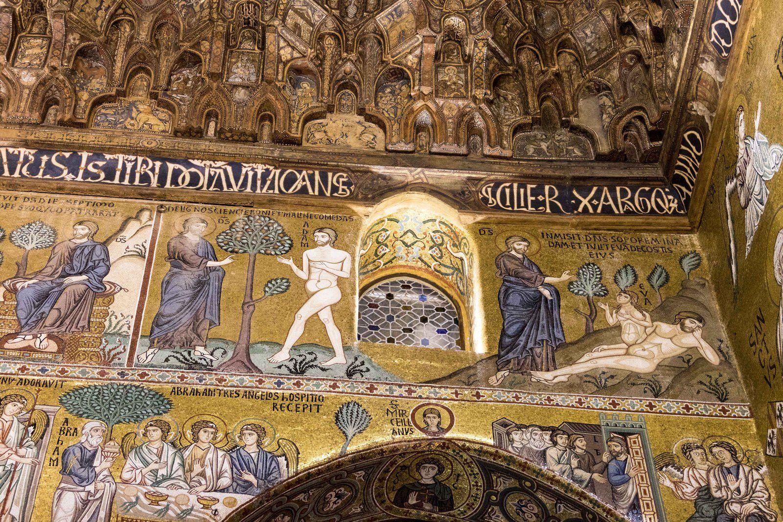 Le dôme de l'église San Cataldo sous la pluie, l'intérieur de la Chiesa della Martorana, des détails de la chapelle Palatine (photos 3 et 4)