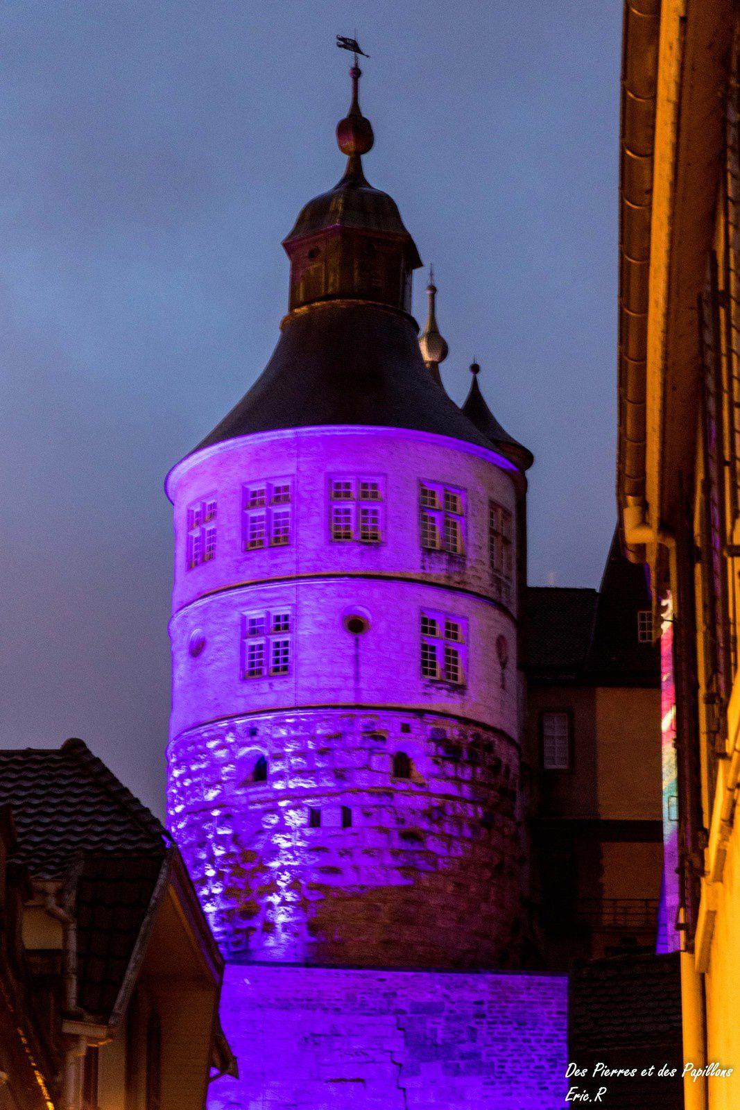 Les éclairages du château de Montbéliard.
