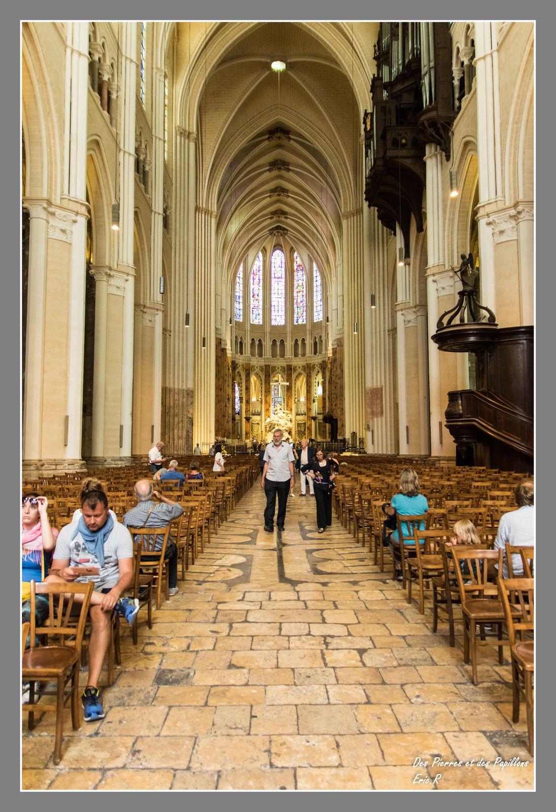 Vues de la nef en direction de l'entrée et de l'abside