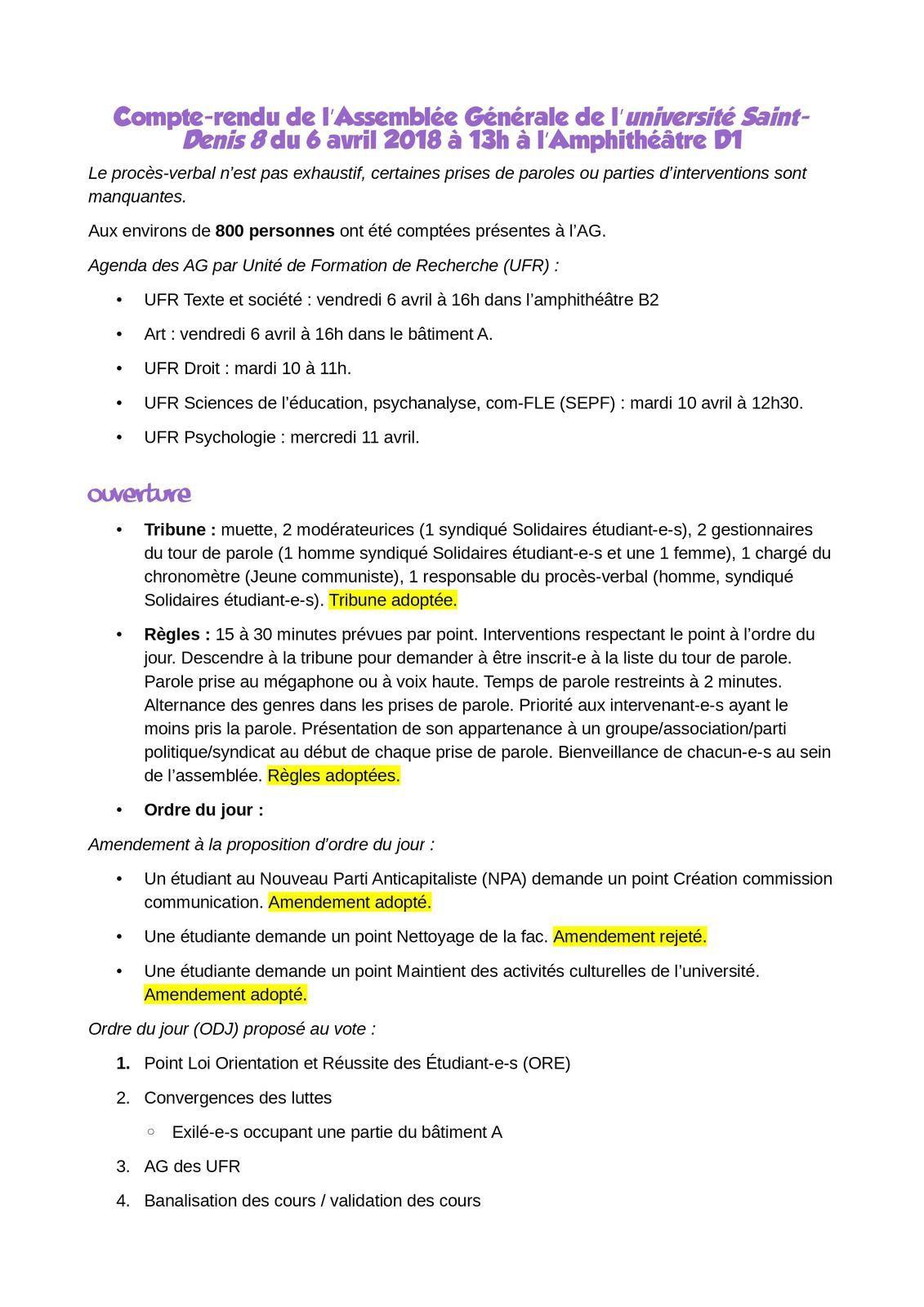 Compte Rendu De L Assemblee Generale De L Universite Saint Denis 8