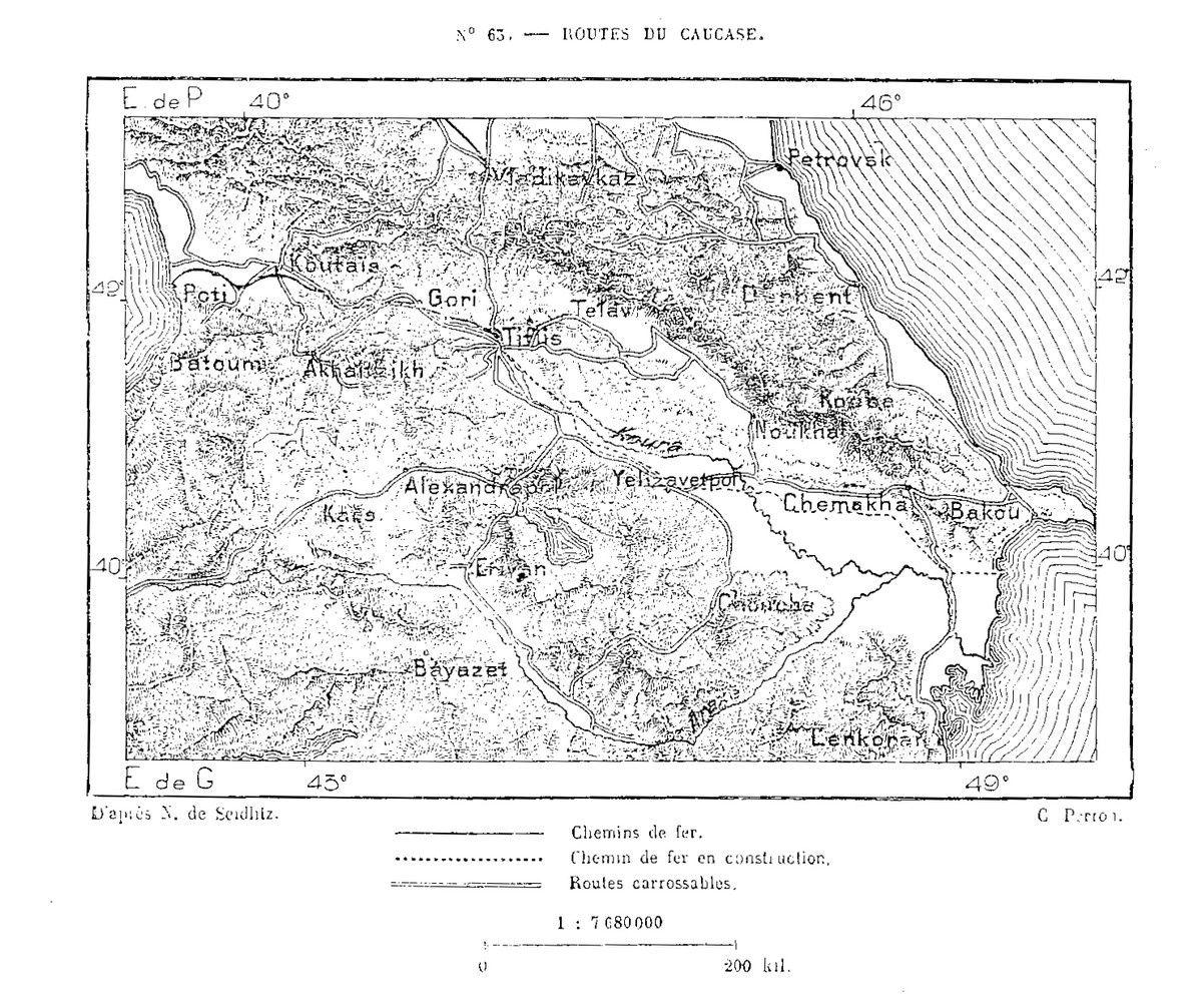 N. 63. — ROUTES DU CAUCASE. Chemins de fer.  Chemin de fer en construction. Routes carrossables.  1 : 7 680 000