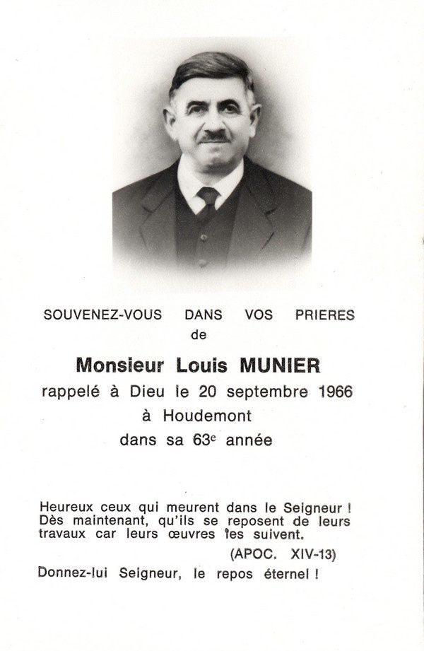 Louis Munier (1903-1966). Image mortuaire