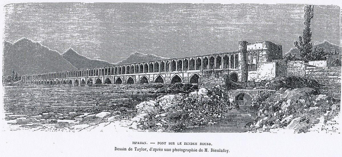 Le pont Si-o-Seh (pont aux 33 arches en 2005 et 2014).Cadeau : une gravure du XIXème siècle
