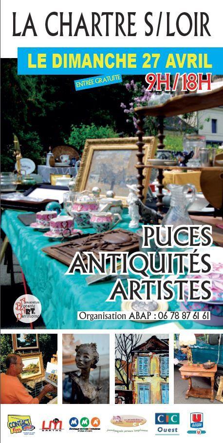 N'oubliez pas dimanche, les puces antiquités artistes à la Chartre sur le Loir