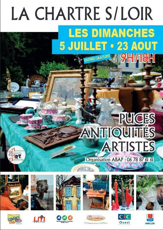 Bientot les puces antiquités artistes à la Chartre sur le Loir