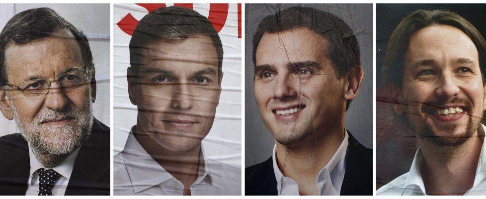 Da sinistra:    MARIANO RAJOY (PP),     PEDRO SANCHEZ (PSOE),     ALBERT RIVERA (Ciudadanos),     PABLO IGLESIAS (Podemos)