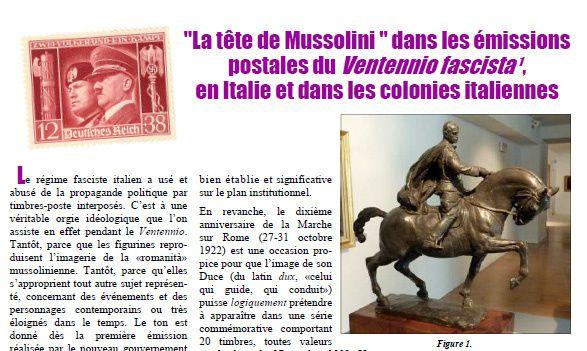 &quot&#x3B;La tête de Mussolini&quot&#x3B; dans les émissions postales du Ventennio fascista, en Italie et dans les colonies italiennes