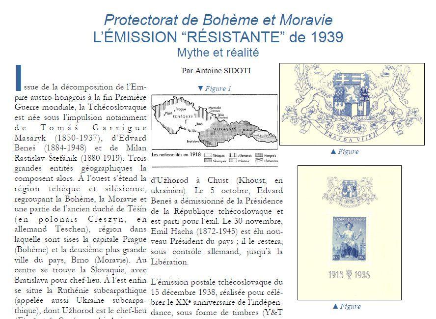 """Protectorat de Bohème et Moravie L'ÉMISSION """"RÉSISTANTE"""" de 1939 Mythe et réalité"""