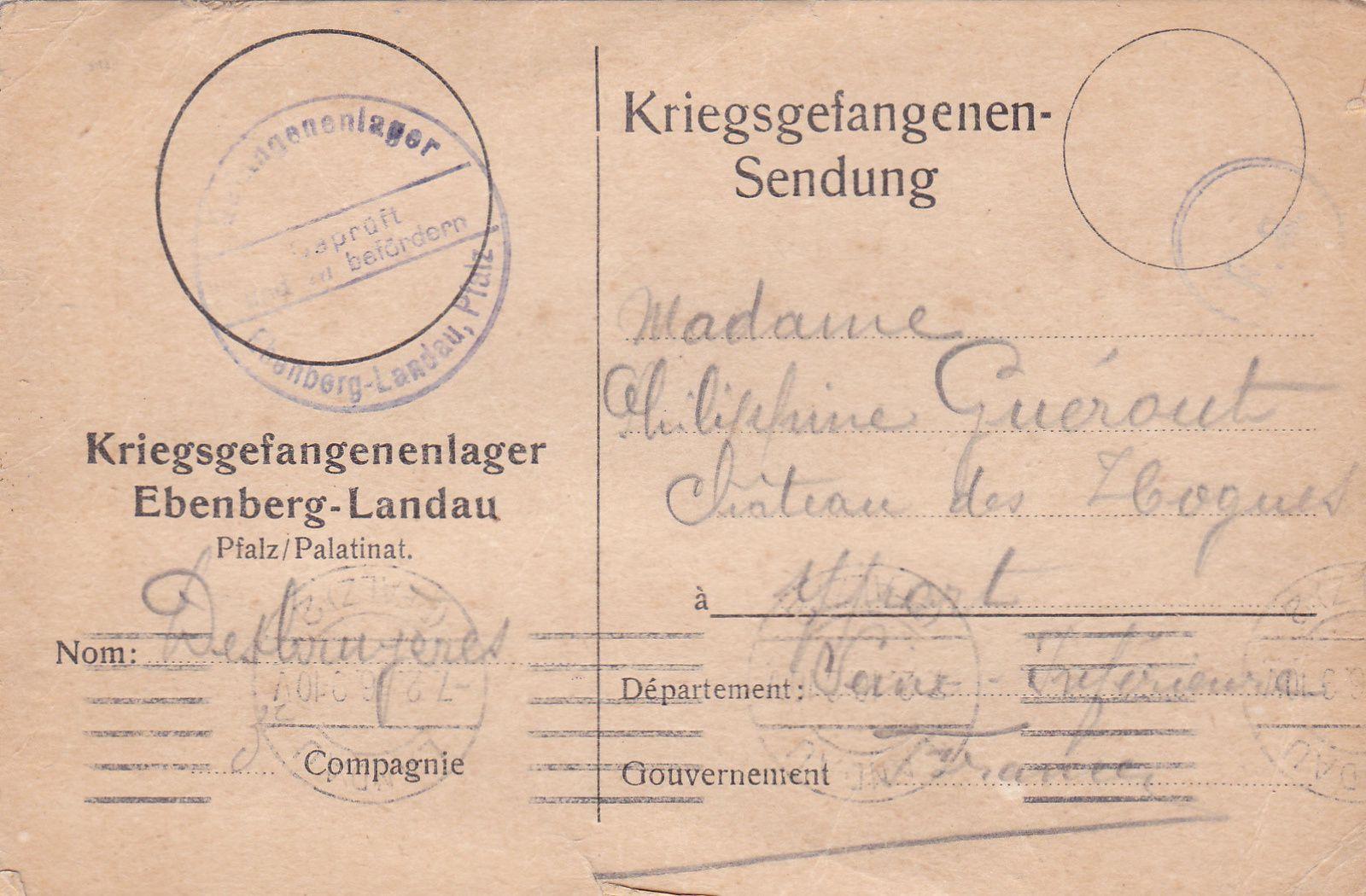 Carte de prisonnier du 7 février 1916.