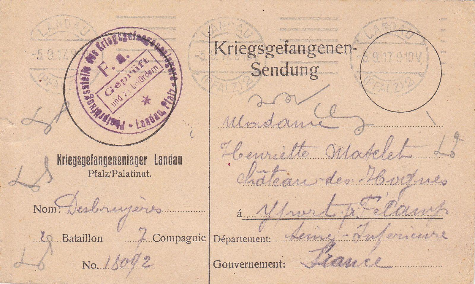 Correspondance du 5 septembre 1917.
