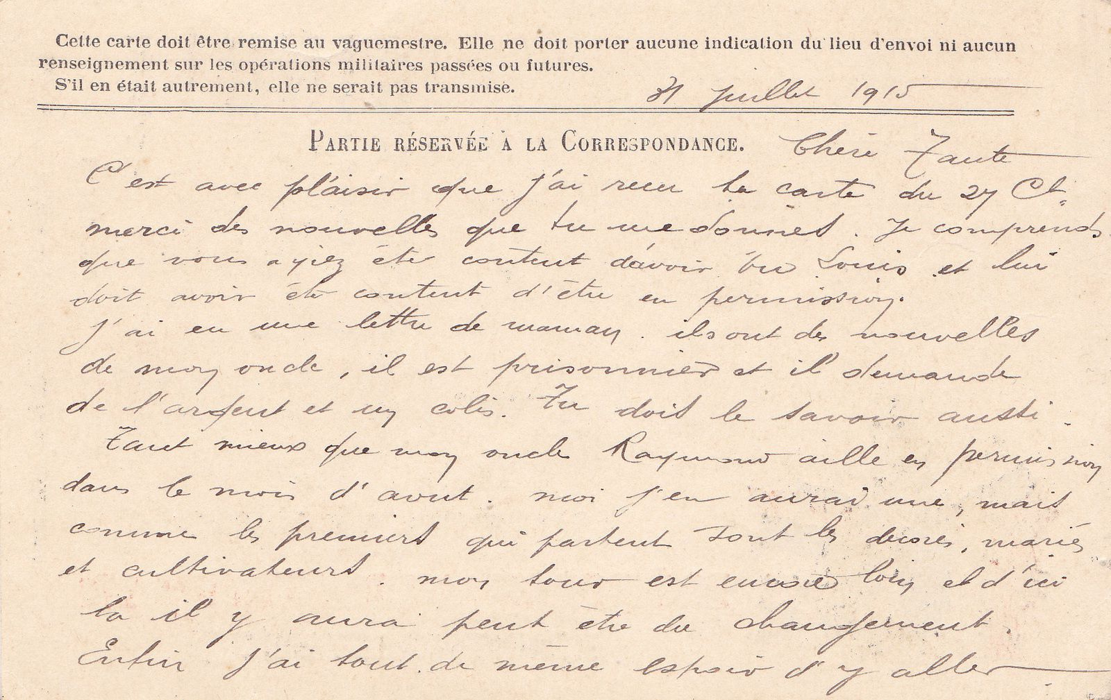 Carte de correspondance du 31 juillet 1915.