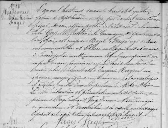 En 1868, son acte de naissance: voir AD4/4E035ART6 LA CAPELLE LOZERE