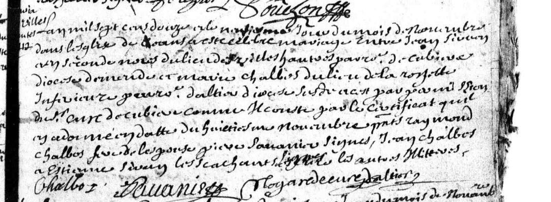 acte de mariage entre Jean Sirven et Marie Chalbos à Altier