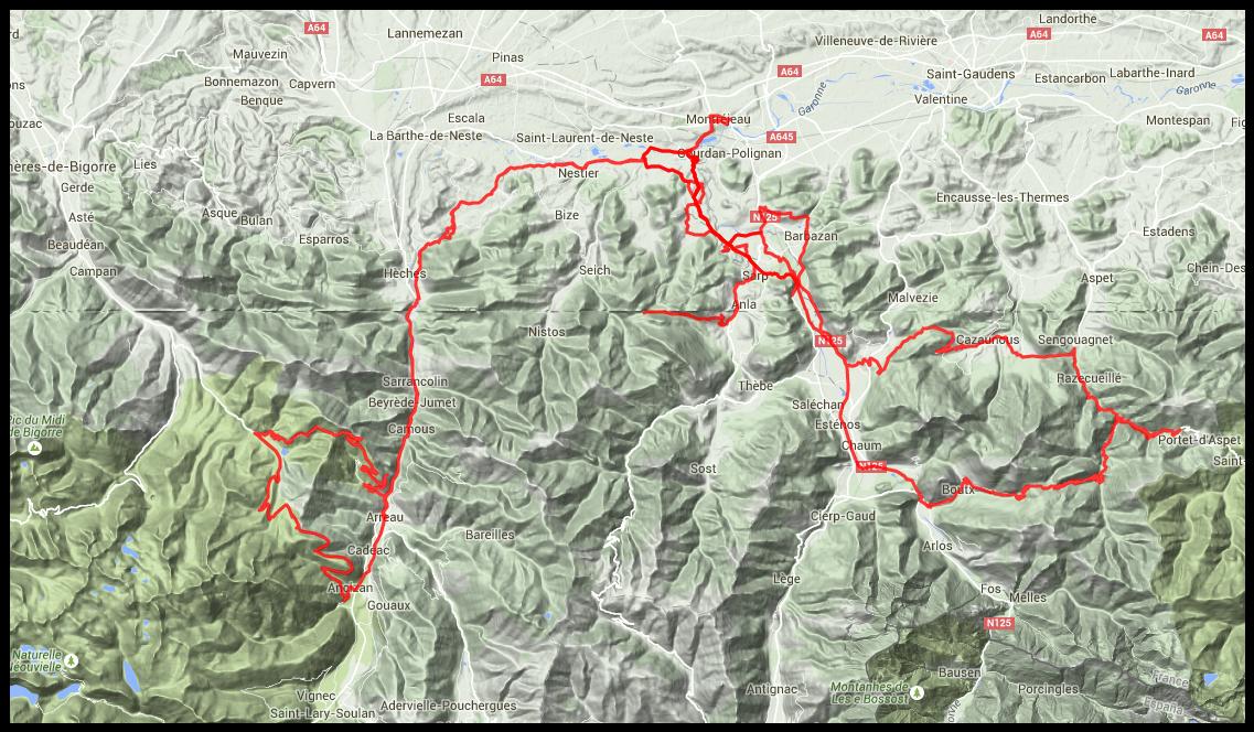 Carte des parcours cumulés sur 4 jours