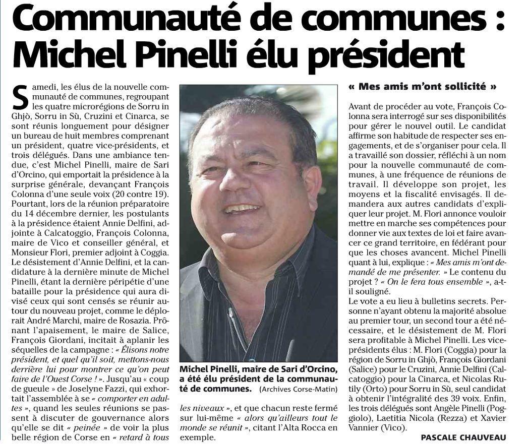 Le nouveau président de la nouvelle communauté