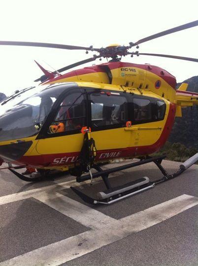Un appareil de la sécurité civile posé sur l'héliport de Soccia.