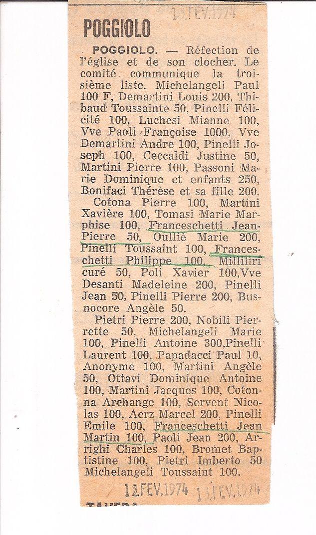 Les Poggiolais donnent pour leur église : la liste de 1974 (1/4)