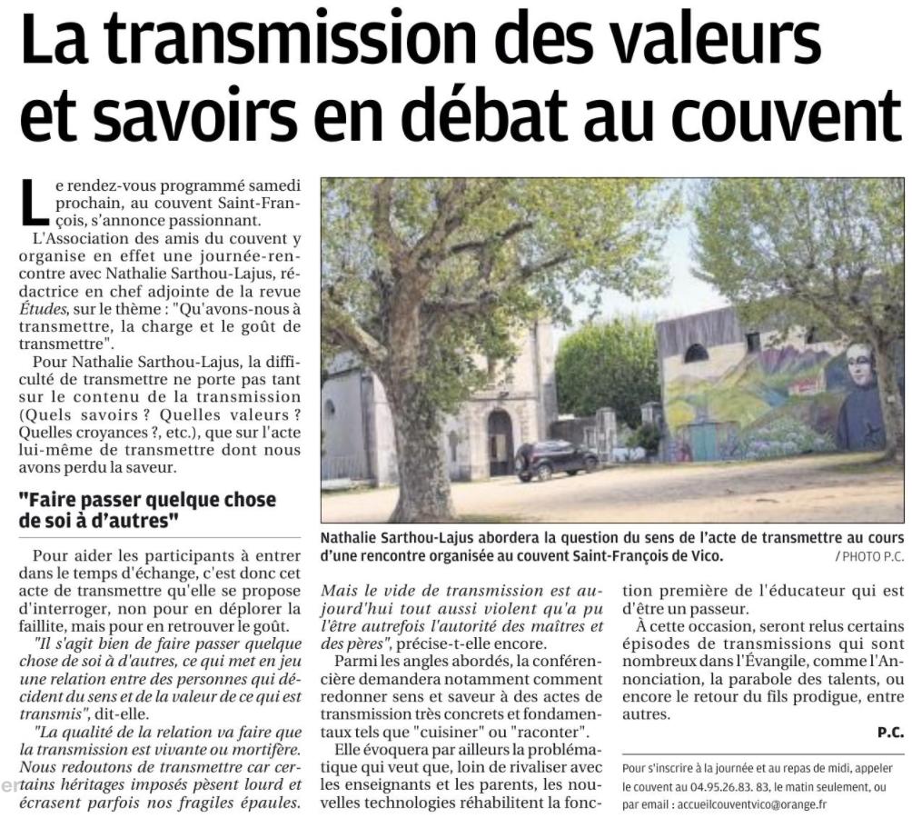 """Article paru dans """"Corse-Matin"""" 17/4/17"""