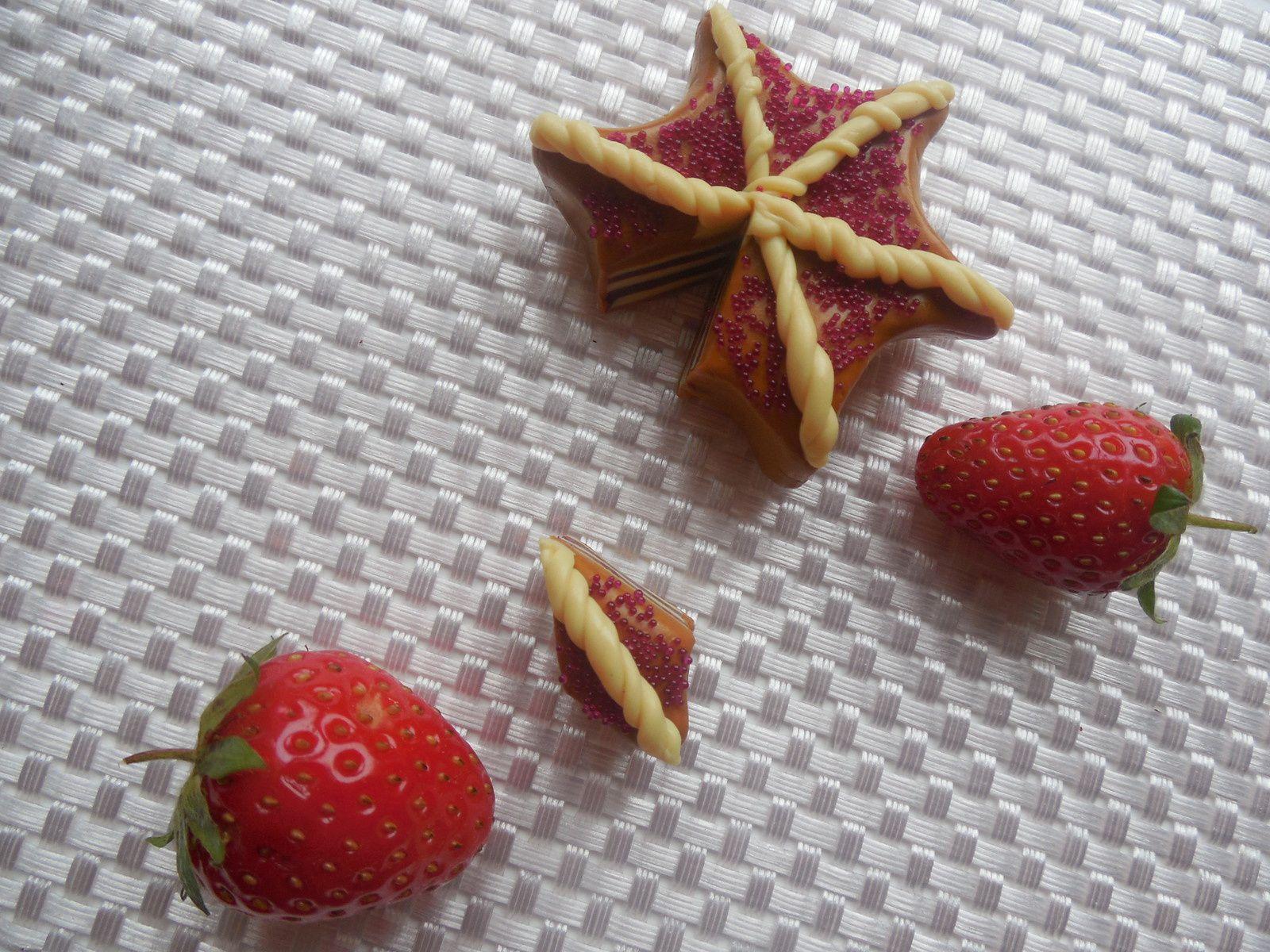 Réalisé avec de la pâte polymère caramel, bordeaux, et vanille. Emporte-pièce étoile ( forme de votre choix ). Décoration : microbilles rose framboise et torsade réalisé en pâte vanille.