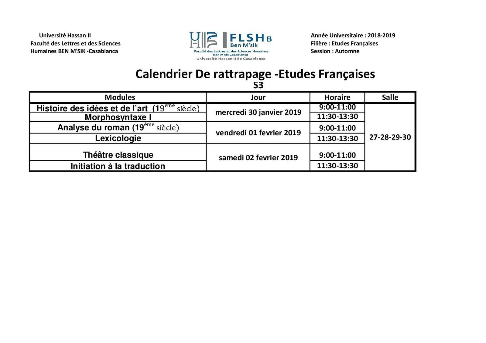 Calendrier Des Examens Sciences Po.Calendrier Des Examens De Rattrapage Automne 2018 2019