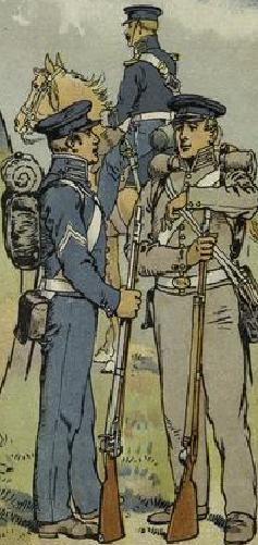 A gauche un soldat d'infanterie en uniforme bleu clair et à droite un voltigeur dans la tenue grise, les voltigeurs ne portèrent jamais ces tenues qui furent perdues en mer
