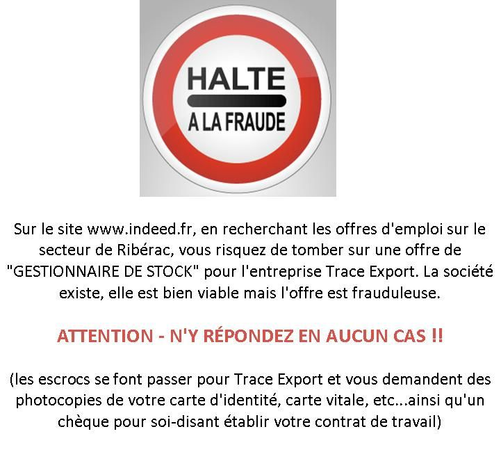 Attention : offre d'emploi frauduleuse sur www.indeed.fr