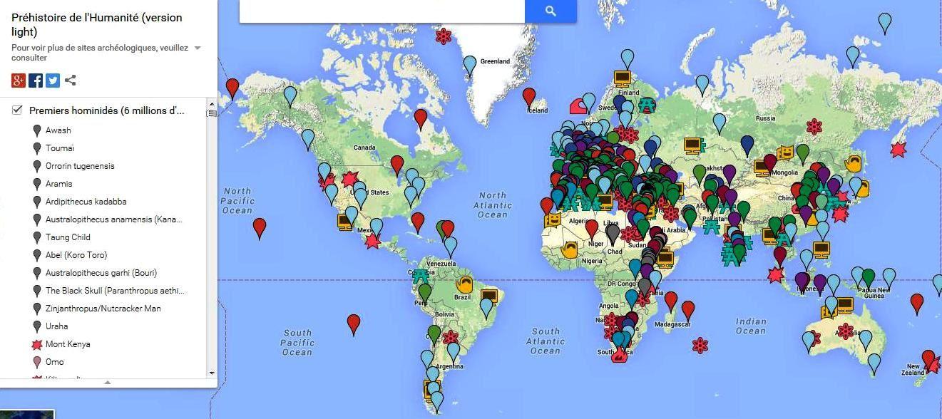 Carte GoogleMaps de la Préhistoire de l'Humanité : http://www.google.com/maps/d/viewer?mid=z0ganFI6Muk4.kylZImVZCDlw