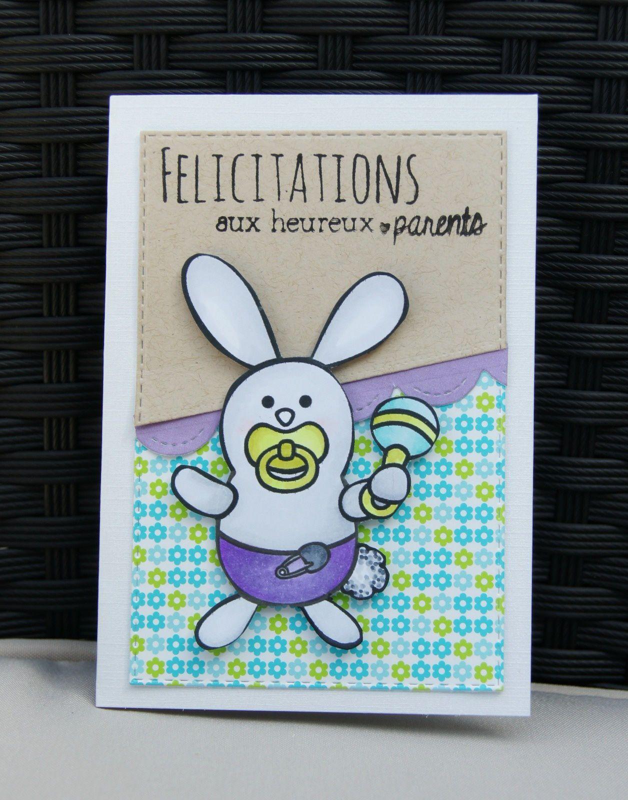 carte félicitations : bébé lapin