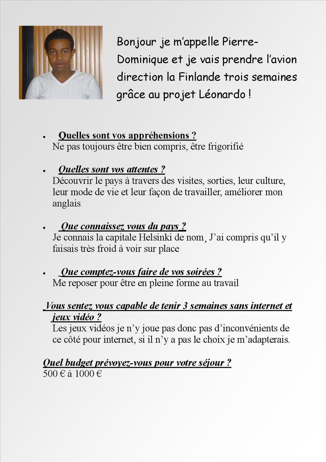 Interview Pierre - Dominique